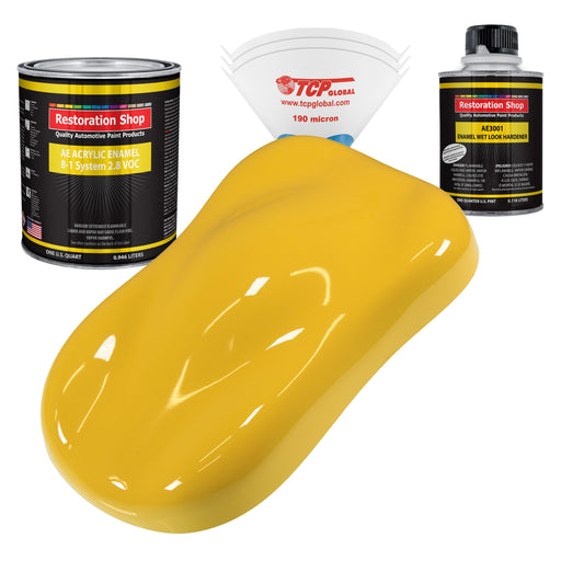 Boss Yellow Acrylic Enamel Auto Paint - Complete Quart Paint Kit - Professional Single Stage High Gloss Automotive, Car, Truck, Equipment Coating, 8:1 Mix Ratio 2.8 VOC
