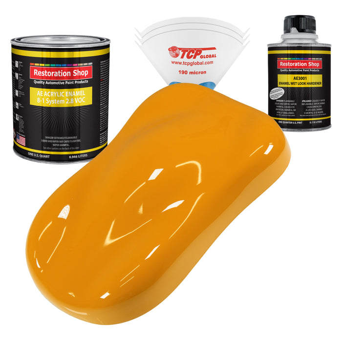 School Bus Yellow Acrylic Enamel Auto Paint - Complete Quart Paint Kit - Professional Single Stage High Gloss Automotive, Car, Truck, Equipment Coating, 8:1 Mix Ratio 2.8 VOC