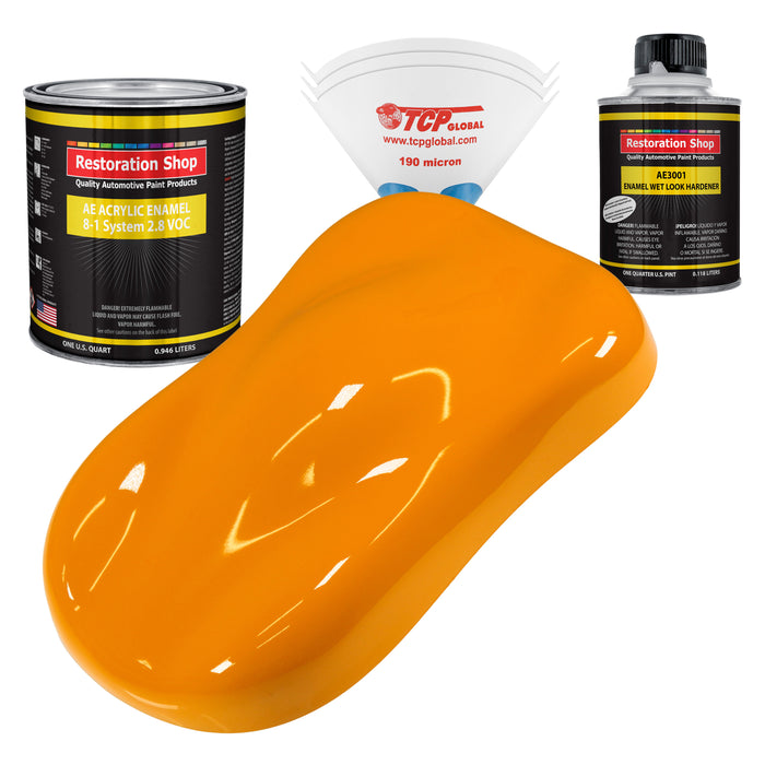 Speed Yellow Acrylic Enamel Auto Paint - Complete Quart Paint Kit - Professional Single Stage High Gloss Automotive, Car, Truck, Equipment Coating, 8:1 Mix Ratio 2.8 VOC