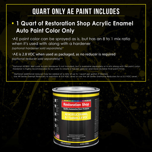 Speed Yellow Acrylic Enamel Auto Paint - Quart Paint Color Only - Professional Single Stage High Gloss Automotive, Car, Truck, Equipment Coating, 2.8 VOC