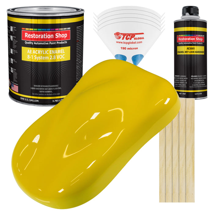 Electric Yellow Acrylic Enamel Auto Paint - Complete Gallon Paint Kit - Professional Single Stage High Gloss Automotive, Car Truck, Equipment Coating, 8:1 Mix Ratio 2.8 VOC