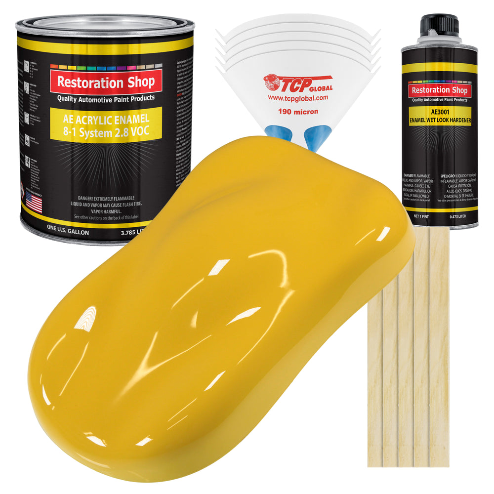 Canary Yellow Acrylic Enamel Auto Paint - Complete Gallon Paint Kit - Professional Single Stage High Gloss Automotive, Car Truck, Equipment Coating, 8:1 Mix Ratio 2.8 VOC