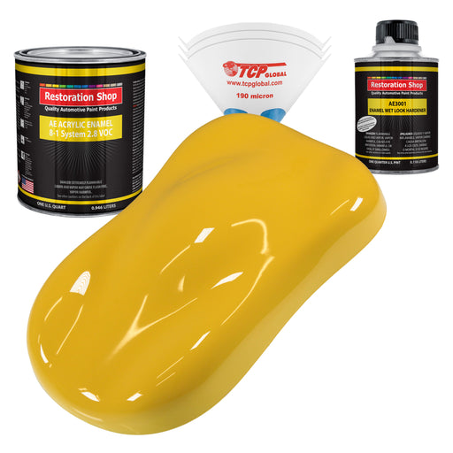 Canary Yellow Acrylic Enamel Auto Paint - Complete Quart Paint Kit - Professional Single Stage High Gloss Automotive, Car, Truck, Equipment Coating, 8:1 Mix Ratio 2.8 VOC