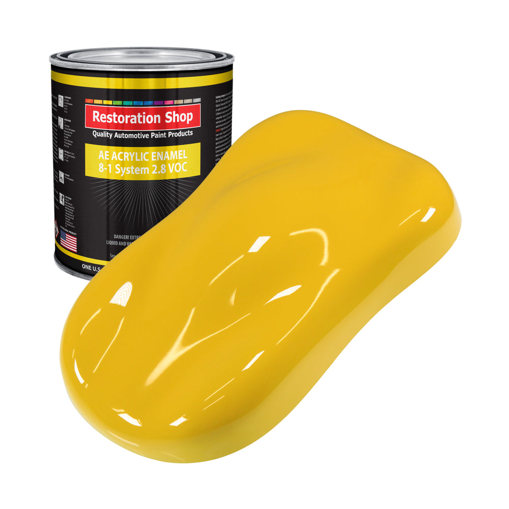 Indy Yellow Acrylic Enamel Auto Paint - Gallon Paint Color Only - Professional Single Stage High Gloss Automotive, Car, Truck, Equipment Coating, 2.8 VOC