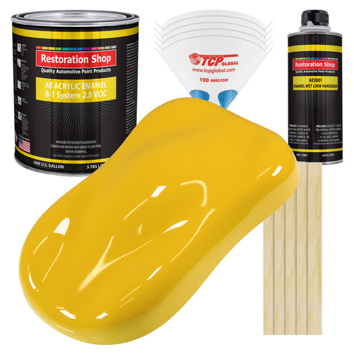 Indy Yellow Acrylic Enamel Auto Paint - Complete Gallon Paint Kit - Professional Single Stage High Gloss Automotive, Car Truck, Equipment Coating, 8:1 Mix Ratio 2.8 VOC