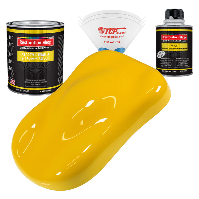 Viper Yellow Acrylic Enamel Auto Paint - Complete Quart Paint Kit - Professional Single Stage High Gloss Automotive, Car, Truck, Equipment Coating, 8:1 Mix Ratio 2.8 VOC