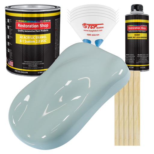 Diamond Blue Acrylic Enamel Auto Paint - Complete Gallon Paint Kit - Professional Single Stage High Gloss Automotive, Car Truck, Equipment Coating, 8:1 Mix Ratio 2.8 VOC