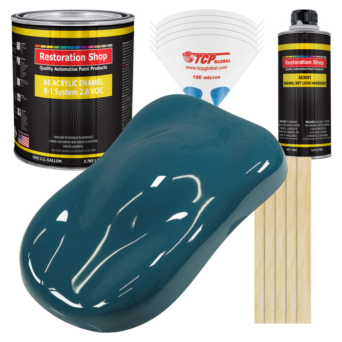 Transport Blue Acrylic Enamel Auto Paint - Complete Gallon Paint Kit - Professional Single Stage High Gloss Automotive, Car Truck, Equipment Coating, 8:1 Mix Ratio 2.8 VOC