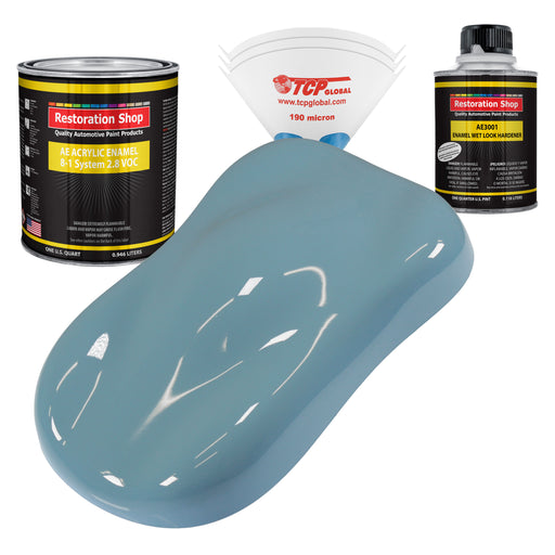 Glacier Blue Acrylic Enamel Auto Paint - Complete Quart Paint Kit - Professional Single Stage High Gloss Automotive, Car, Truck, Equipment Coating, 8:1 Mix Ratio 2.8 VOC