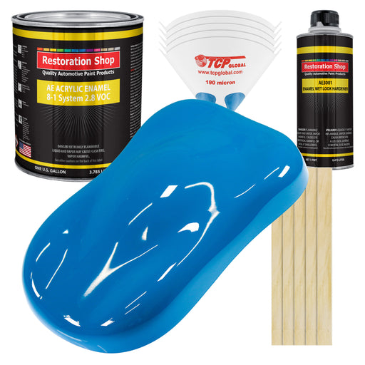 Speed Blue Acrylic Enamel Auto Paint - Complete Gallon Paint Kit - Professional Single Stage High Gloss Automotive, Car Truck, Equipment Coating, 8:1 Mix Ratio 2.8 VOC