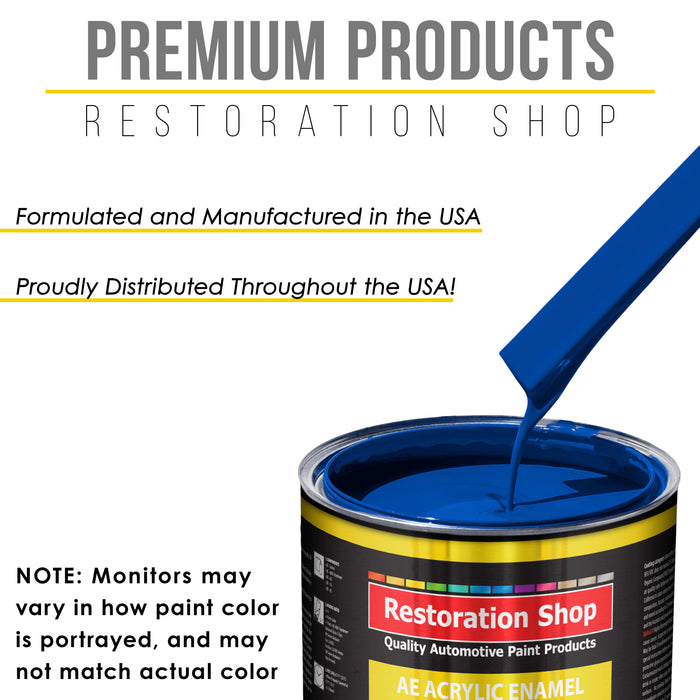 Reflex Blue Acrylic Enamel Auto Paint - Complete Quart Paint Kit - Professional Single Stage High Gloss Automotive, Car, Truck, Equipment Coating, 8:1 Mix Ratio 2.8 VOC