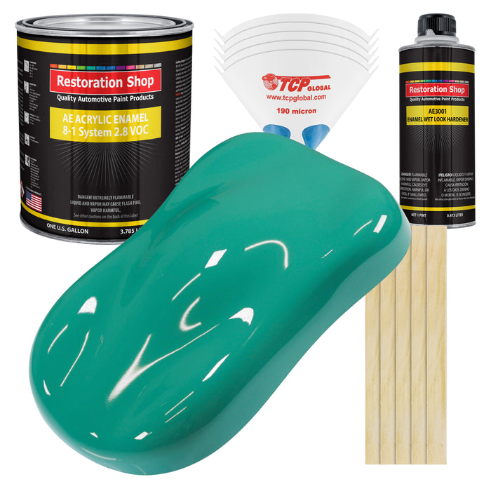 Tropical Turquoise Acrylic Enamel Auto Paint - Complete Gallon Paint Kit - Professional Single Stage High Gloss Automotive, Car Truck, Equipment Coating, 8:1 Mix Ratio 2.8 VOC