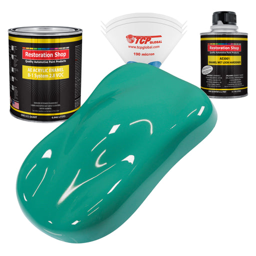 Tropical Turquoise Acrylic Enamel Auto Paint - Complete Quart Paint Kit - Professional Single Stage High Gloss Automotive, Car, Truck, Equipment Coating, 8:1 Mix Ratio 2.8 VOC