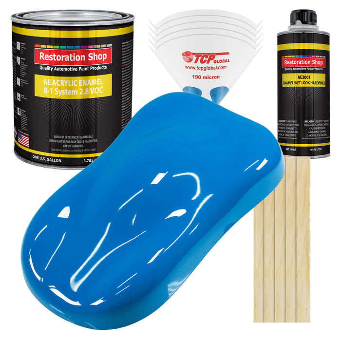 Coastal Highway Blue Acrylic Enamel Auto Paint - Complete Gallon Paint Kit - Professional Single Stage High Gloss Automotive, Car Truck, Equipment Coating, 8:1 Mix Ratio 2.8 VOC