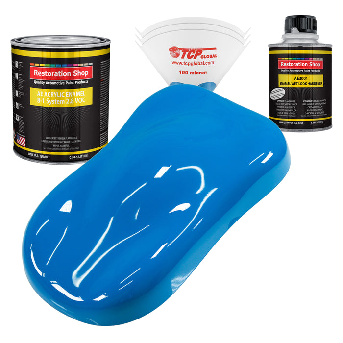Coastal Highway Blue Acrylic Enamel Auto Paint - Complete Quart Paint Kit - Professional Single Stage High Gloss Automotive, Car, Truck, Equipment Coating, 8:1 Mix Ratio 2.8 VOC