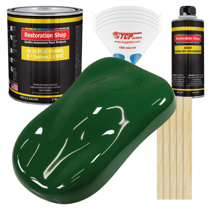 Speed Green Acrylic Enamel Auto Paint - Complete Gallon Paint Kit - Professional Single Stage High Gloss Automotive, Car Truck, Equipment Coating, 8:1 Mix Ratio 2.8 VOC