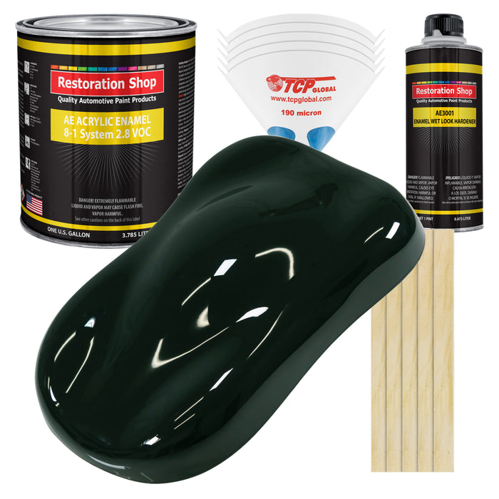 Rock Moss Green Acrylic Enamel Auto Paint - Complete Gallon Paint Kit - Professional Single Stage High Gloss Automotive, Car Truck, Equipment Coating, 8:1 Mix Ratio 2.8 VOC