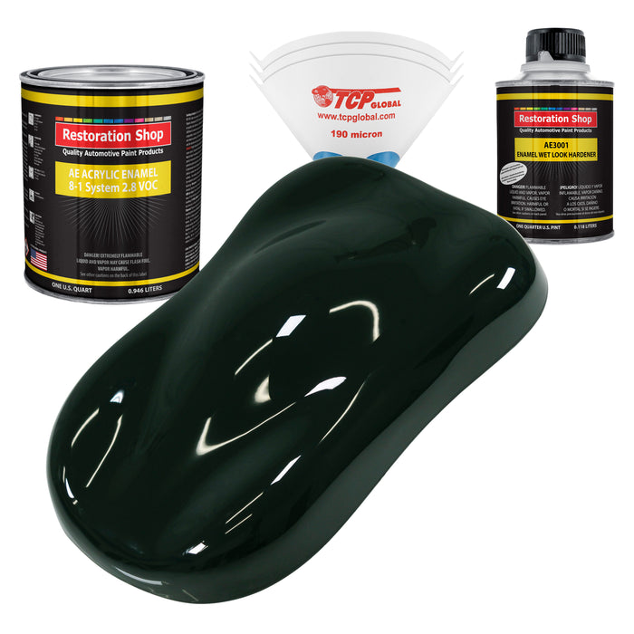 Rock Moss Green Acrylic Enamel Auto Paint - Complete Quart Paint Kit - Professional Single Stage High Gloss Automotive, Car, Truck, Equipment Coating, 8:1 Mix Ratio 2.8 VOC