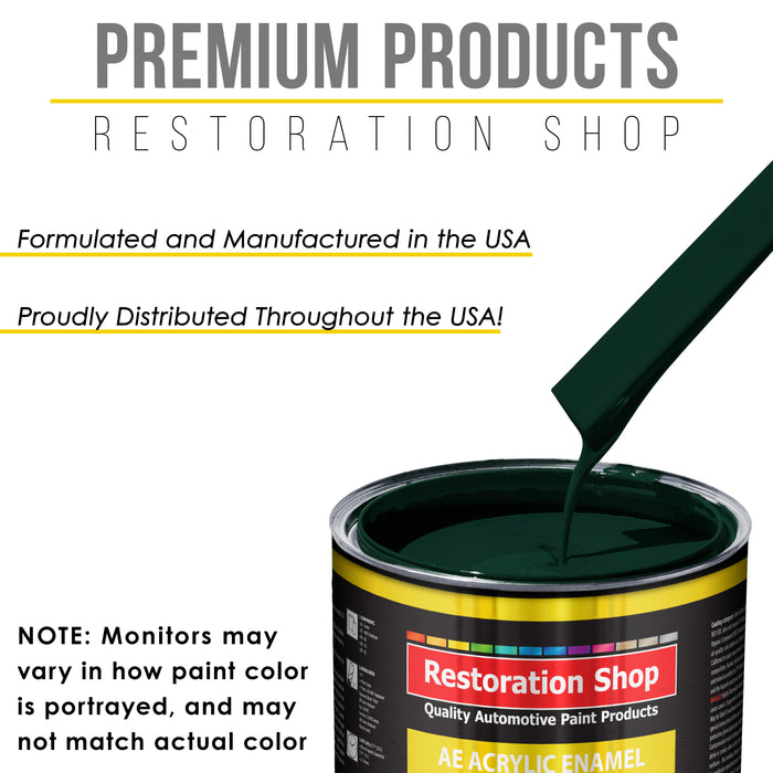 British Racing Green Acrylic Enamel Auto Paint - Complete Gallon Paint Kit - Professional Single Stage High Gloss Automotive, Car Truck, Equipment Coating, 8:1 Mix Ratio 2.8 VOC