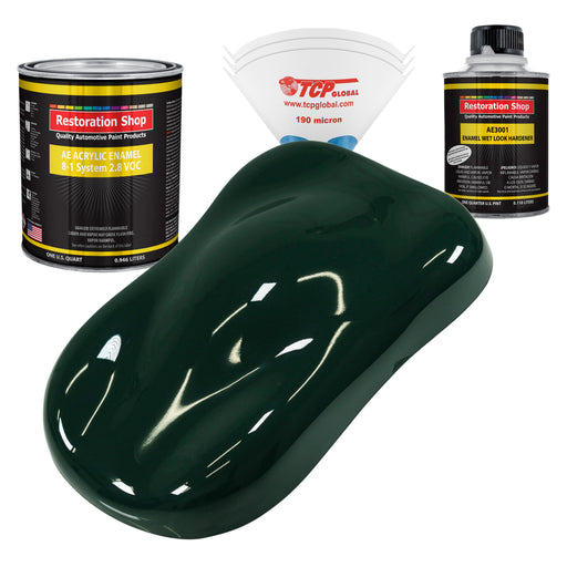 British Racing Green Acrylic Enamel Auto Paint - Complete Quart Paint Kit - Professional Single Stage High Gloss Automotive, Car, Truck, Equipment Coating, 8:1 Mix Ratio 2.8 VOC