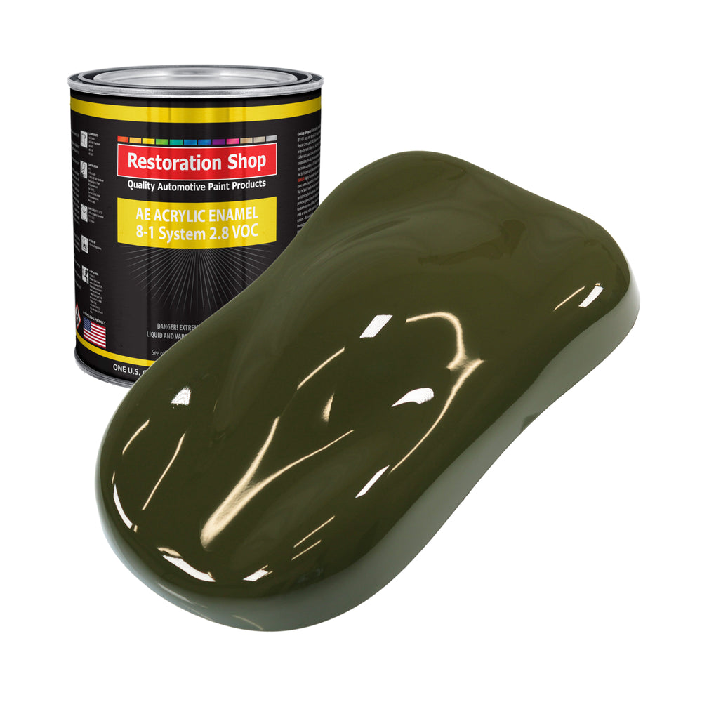 Olive Drab Green Acrylic Enamel Auto Paint - Gallon Paint Color Only - Professional Single Stage High Gloss Automotive, Car, Truck, Equipment Coating, 2.8 VOC