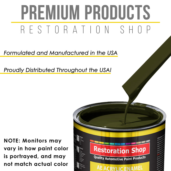 Olive Drab Green Acrylic Enamel Auto Paint - Complete Quart Paint Kit - Professional Single Stage High Gloss Automotive, Car, Truck, Equipment Coating, 8:1 Mix Ratio 2.8 VOC