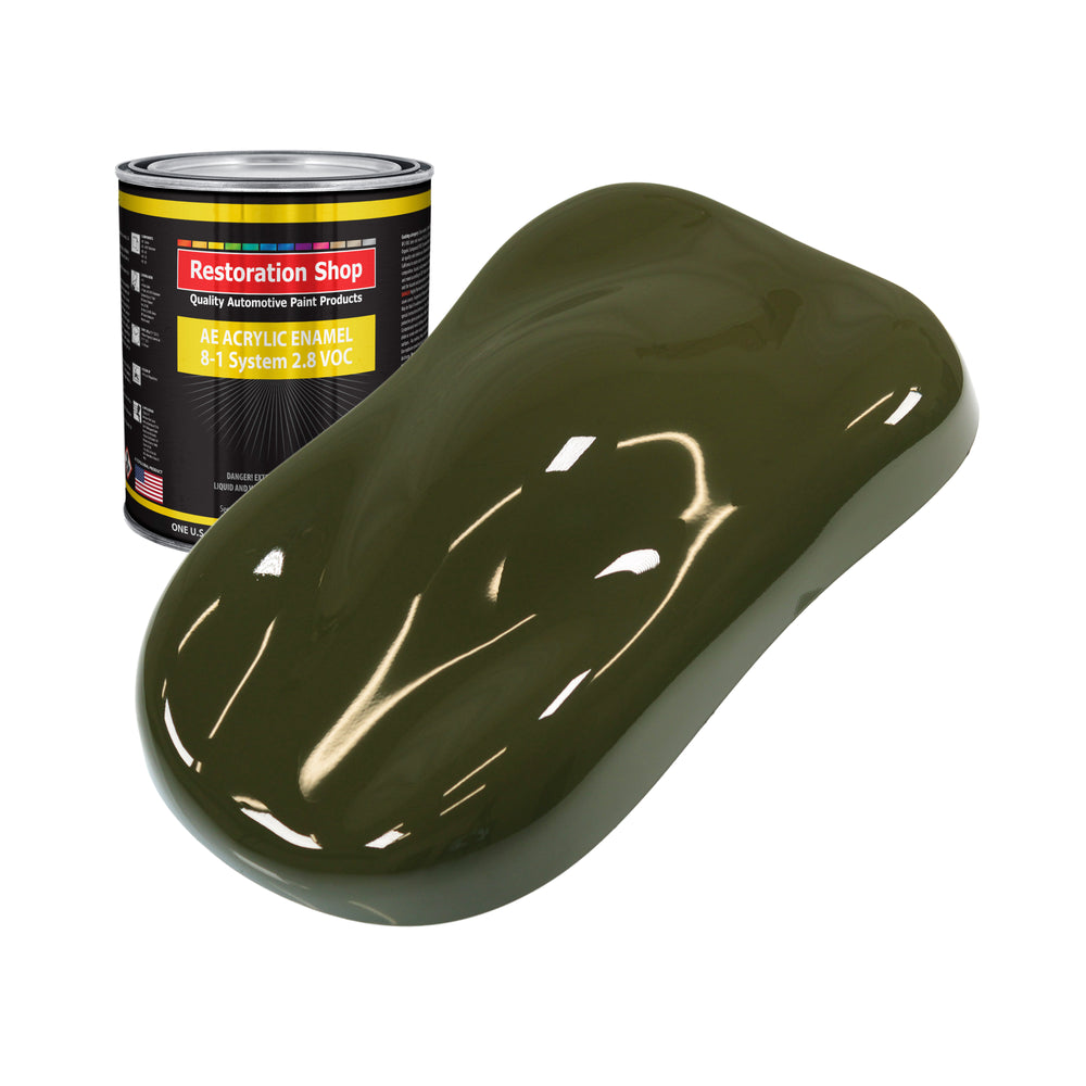 Olive Drab Green Acrylic Enamel Auto Paint - Quart Paint Color Only - Professional Single Stage High Gloss Automotive, Car, Truck, Equipment Coating, 2.8 VOC