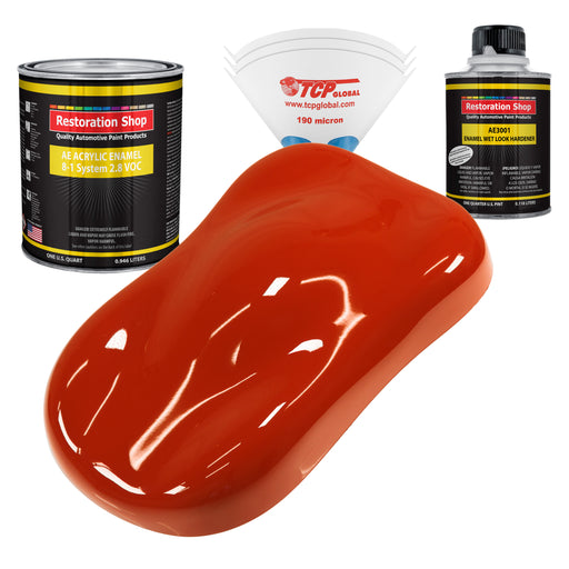 Hot Rod Red Acrylic Enamel Auto Paint - Complete Quart Paint Kit - Professional Single Stage High Gloss Automotive, Car, Truck, Equipment Coating, 8:1 Mix Ratio 2.8 VOC