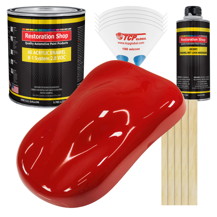 Graphic Red Acrylic Enamel Auto Paint - Complete Gallon Paint Kit - Professional Single Stage High Gloss Automotive, Car Truck, Equipment Coating, 8:1 Mix Ratio 2.8 VOC