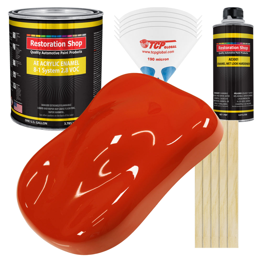 Monza Red Acrylic Enamel Auto Paint - Complete Gallon Paint Kit - Professional Single Stage High Gloss Automotive, Car Truck, Equipment Coating, 8:1 Mix Ratio 2.8 VOC