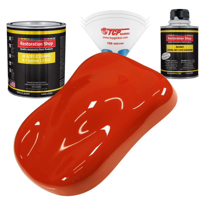 Monza Red Acrylic Enamel Auto Paint - Complete Quart Paint Kit - Professional Single Stage High Gloss Automotive, Car, Truck, Equipment Coating, 8:1 Mix Ratio 2.8 VOC