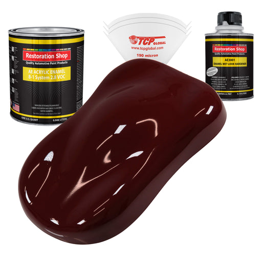 Carmine Red Acrylic Enamel Auto Paint - Complete Quart Paint Kit - Professional Single Stage High Gloss Automotive, Car, Truck, Equipment Coating, 8:1 Mix Ratio 2.8 VOC
