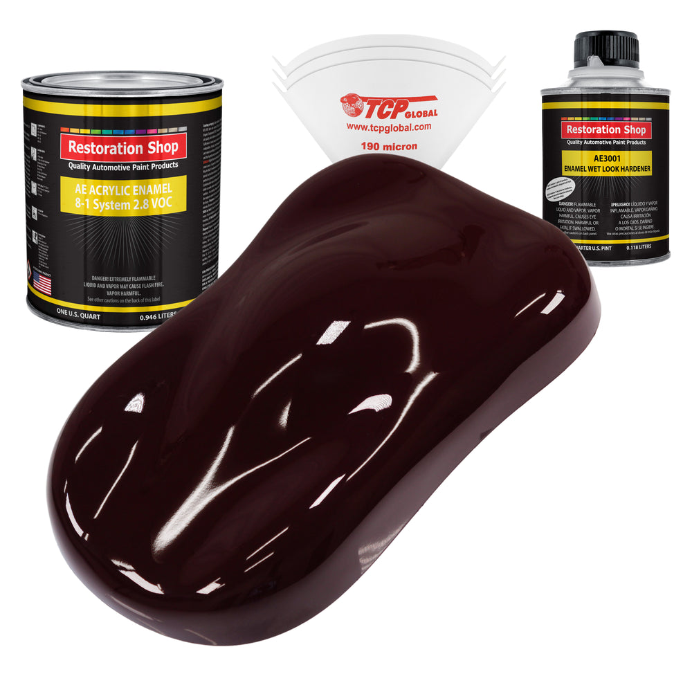 Royal Maroon Acrylic Enamel Auto Paint - Complete Quart Paint Kit - Professional Single Stage High Gloss Automotive, Car, Truck, Equipment Coating, 8:1 Mix Ratio 2.8 VOC