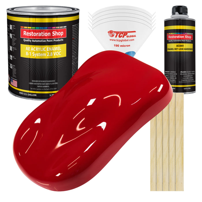Viper Red Acrylic Enamel Auto Paint - Complete Gallon Paint Kit - Professional Single Stage High Gloss Automotive, Car Truck, Equipment Coating, 8:1 Mix Ratio 2.8 VOC