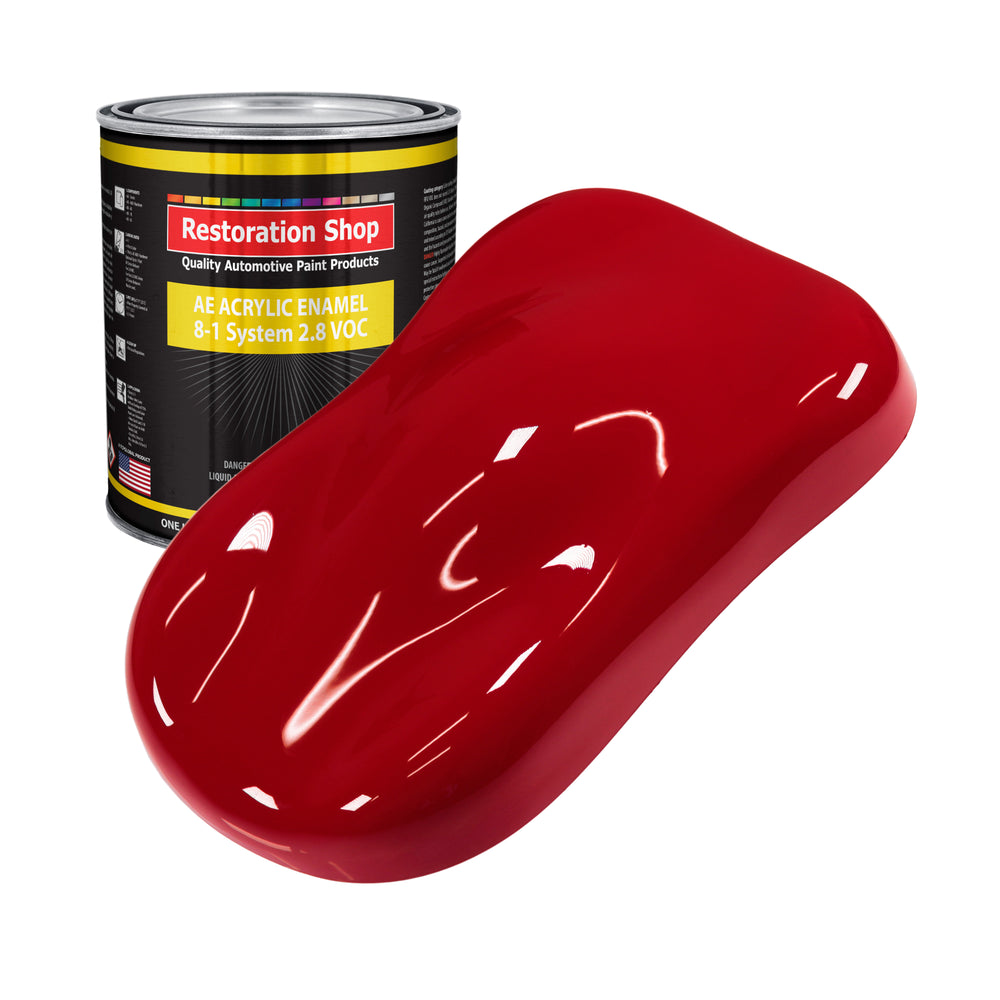 Quarter Mile Red Acrylic Enamel Auto Paint - Gallon Paint Color Only - Professional Single Stage High Gloss Automotive, Car, Truck, Equipment Coating, 2.8 VOC