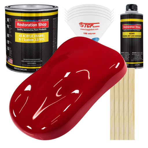 Quarter Mile Red Acrylic Enamel Auto Paint - Complete Gallon Paint Kit - Professional Single Stage High Gloss Automotive, Car Truck, Equipment Coating, 8:1 Mix Ratio 2.8 VOC