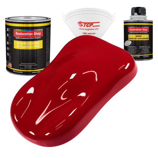 Quarter Mile Red Acrylic Enamel Auto Paint - Complete Quart Paint Kit - Professional Single Stage High Gloss Automotive, Car, Truck, Equipment Coating, 8:1 Mix Ratio 2.8 VOC