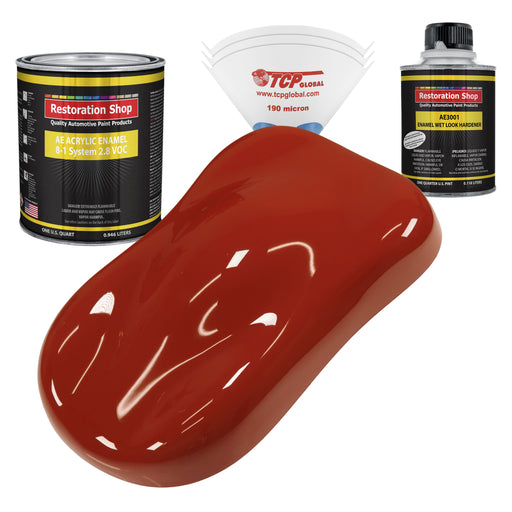 Scarlet Red Acrylic Enamel Auto Paint - Complete Quart Paint Kit - Professional Single Stage High Gloss Automotive, Car, Truck, Equipment Coating, 8:1 Mix Ratio 2.8 VOC