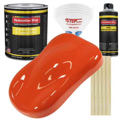 Speed Orange Acrylic Enamel Auto Paint - Complete Gallon Paint Kit - Professional Single Stage High Gloss Automotive, Car Truck, Equipment Coating, 8:1 Mix Ratio 2.8 VOC