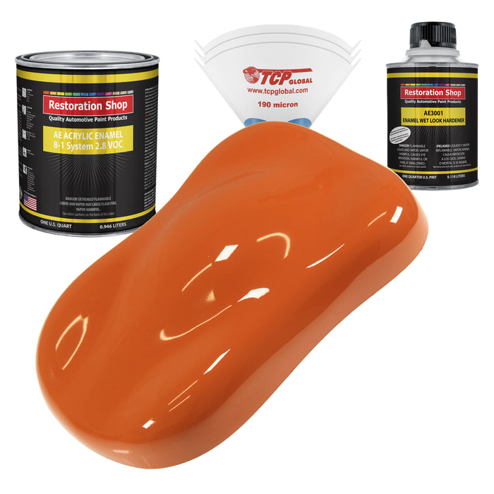 Sunset Orange Acrylic Enamel Auto Paint - Complete Quart Paint Kit - Professional Single Stage High Gloss Automotive, Car, Truck, Equipment Coating, 8:1 Mix Ratio 2.8 VOC