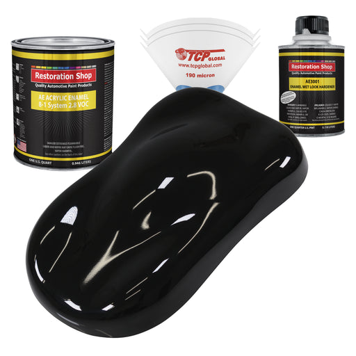 Boulevard Black Acrylic Enamel Auto Paint - Complete Quart Paint Kit - Professional Single Stage High Gloss Automotive, Car, Truck, Equipment Coating, 8:1 Mix Ratio 2.8 VOC