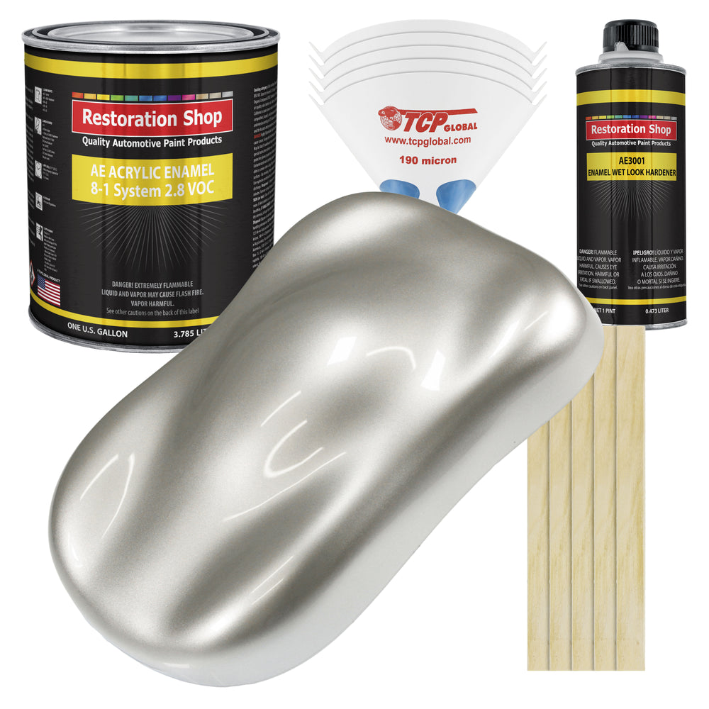 Sterling Silver Metallic Acrylic Enamel Auto Paint - Complete Gallon Paint Kit - Professional Single Stage High Gloss Automotive, Car Truck, Equipment Coating, 8:1 Mix Ratio 2.8 VOC