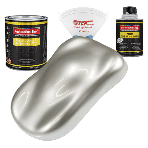 Sterling Silver Metallic Acrylic Enamel Auto Paint - Complete Quart Paint Kit - Professional Single Stage High Gloss Automotive, Car, Truck, Equipment Coating, 8:1 Mix Ratio 2.8 VOC