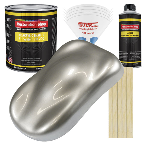 Pewter Silver Metallic Acrylic Enamel Auto Paint - Complete Gallon Paint Kit - Professional Single Stage High Gloss Automotive, Car Truck, Equipment Coating, 8:1 Mix Ratio 2.8 VOC