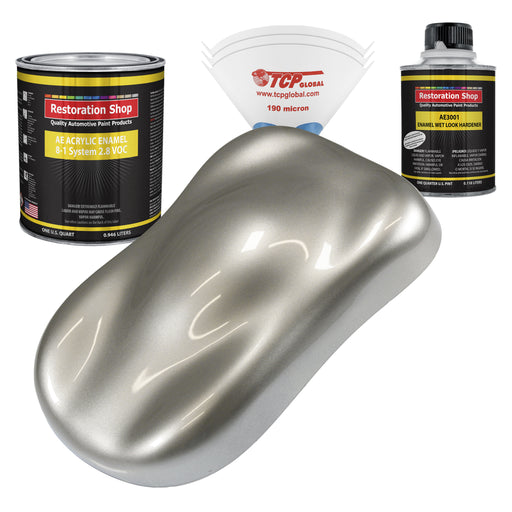 Pewter Silver Metallic Acrylic Enamel Auto Paint - Complete Quart Paint Kit - Professional Single Stage High Gloss Automotive, Car, Truck, Equipment Coating, 8:1 Mix Ratio 2.8 VOC
