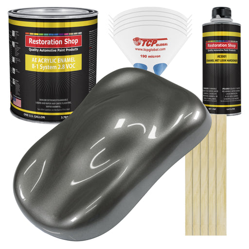 Dark Charcoal Metallic Acrylic Enamel Auto Paint - Complete Gallon Paint Kit - Professional Single Stage High Gloss Automotive, Car Truck, Equipment Coating, 8:1 Mix Ratio 2.8 VOC