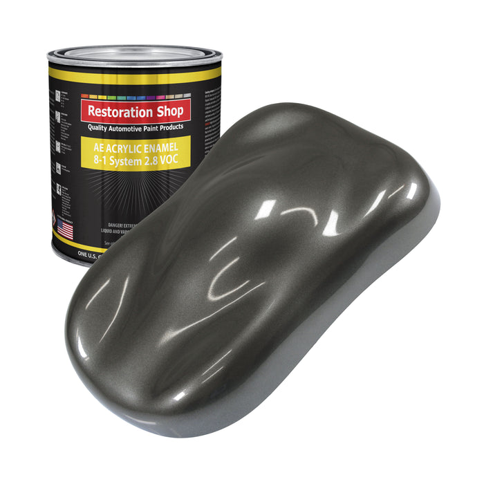 Anthracite Gray Metallic Acrylic Enamel Auto Paint - Gallon Paint Color Only - Professional Single Stage High Gloss Automotive, Car, Truck, Equipment Coating, 2.8 VOC