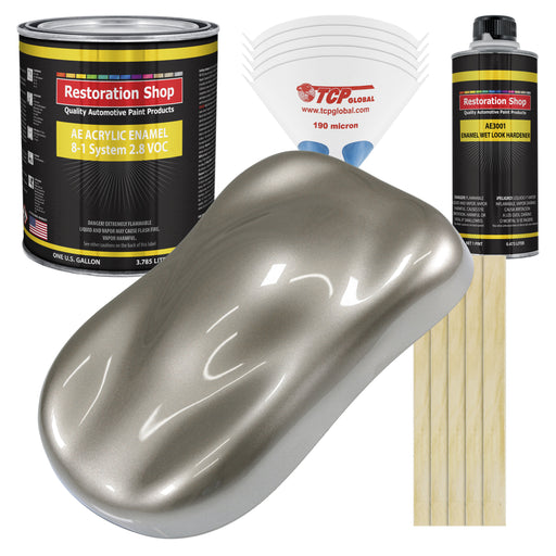 Warm Gray Metallic Acrylic Enamel Auto Paint - Complete Gallon Paint Kit - Professional Single Stage High Gloss Automotive, Car Truck, Equipment Coating, 8:1 Mix Ratio 2.8 VOC
