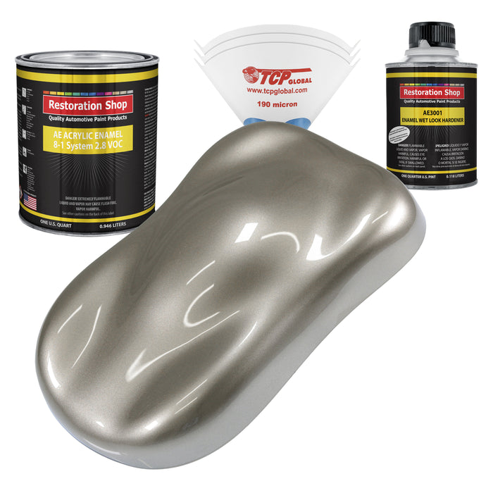 Warm Gray Metallic Acrylic Enamel Auto Paint - Complete Quart Paint Kit - Professional Single Stage High Gloss Automotive, Car, Truck, Equipment Coating, 8:1 Mix Ratio 2.8 VOC