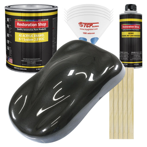 Black Metallic Acrylic Enamel Auto Paint - Complete Gallon Paint Kit - Professional Single Stage High Gloss Automotive, Car Truck, Equipment Coating, 8:1 Mix Ratio 2.8 VOC